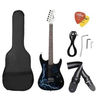 Electric Guitar Dual Humbucker Pickups Beginner Set w Lightning Design