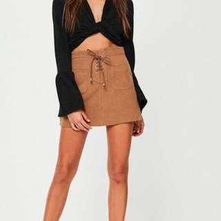 brown faux suede lace up skirt