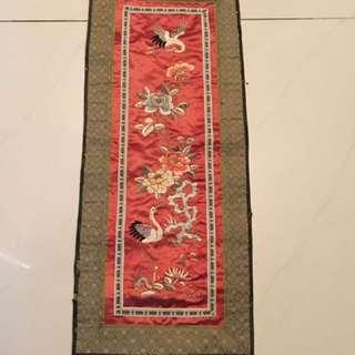清雙鶴牡丹花刺繡