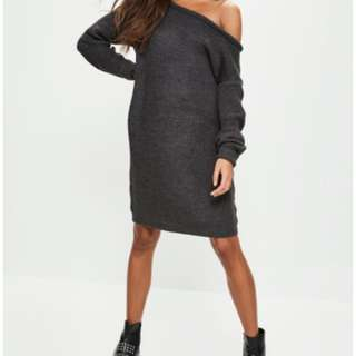 Misguided off the shoulder sweater dress size 4 (36) OVERSIZED