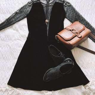 Velvet little black dress