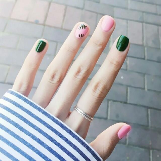 24pcs Fake Nails Elegant Fresh Solid Pink Green Leaves Square Short ...