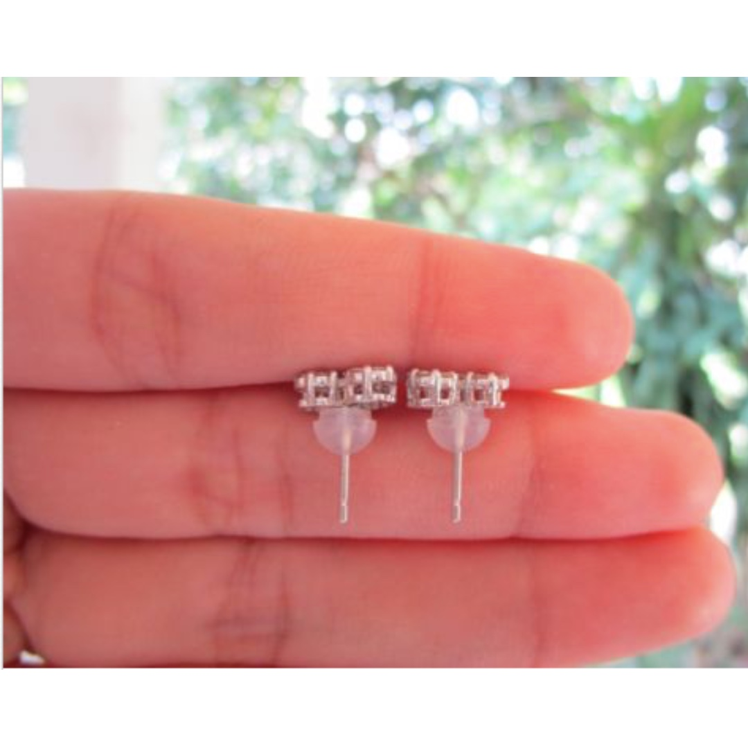 2.75 Carat Face Illusion Diamond White Gold Heart Earrings 18k ...