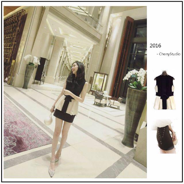 超美套裝❤️法式氣質赫本風黑白配色蝴蝶收腰上衣、綁帶質感短裙