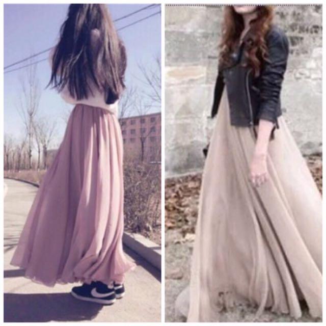 三層藕粉色雪紡長裙