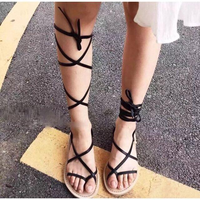 歐美度假海灘風交叉夾腳繫帶綁帶環帶長泳活筒短筒羅馬涼鞋