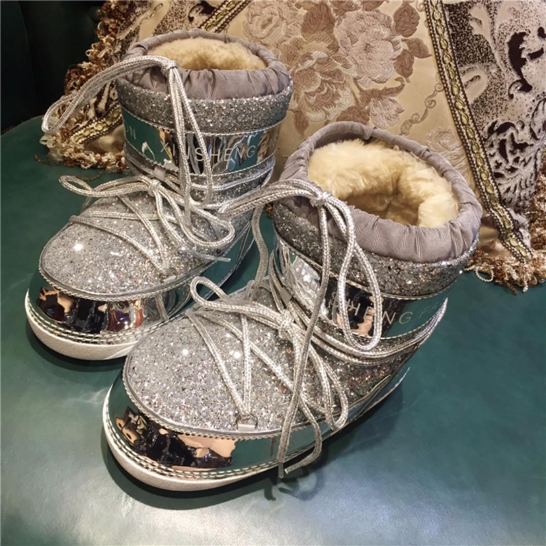眨眼睫毛眼睛歐洲站亮片防滑雪地靴女皮毛一體厚底綁帶短靴鞋