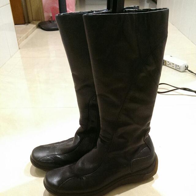 全新@似英國hunter防水防風防滑橡膠鞋底拉鏈素面百搭寬高筒黑靴/雨鞋