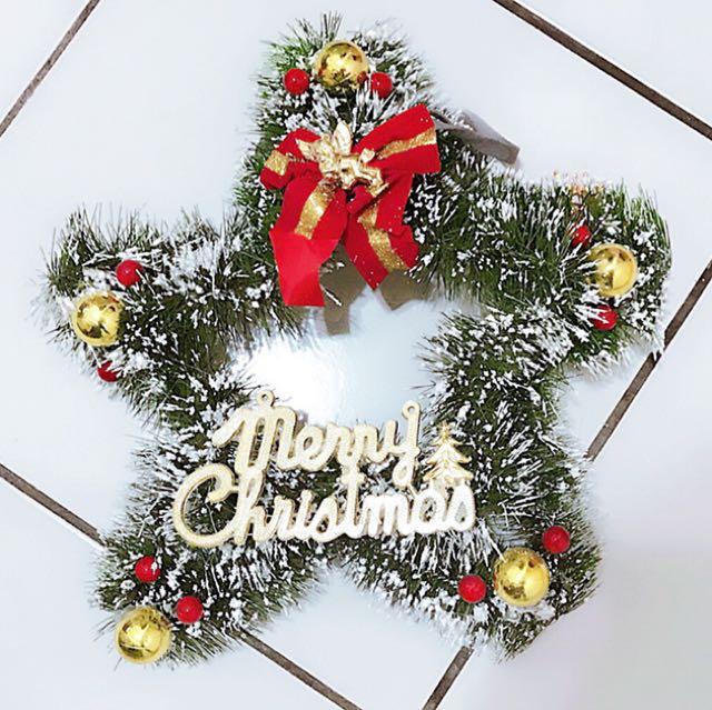 小公主♥聖誕節裝飾用品星型聖誕花圈掛飾門掛