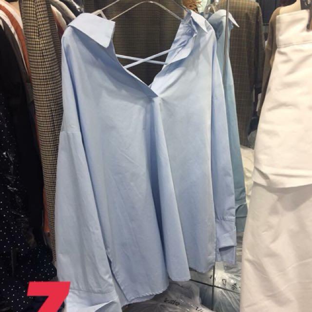 正韓-寬版開領交叉帶造型上衣#我的女裝可超取