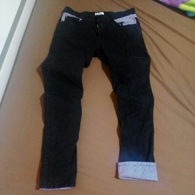 韓版修身褲腳條紋設計(可摺)長褲