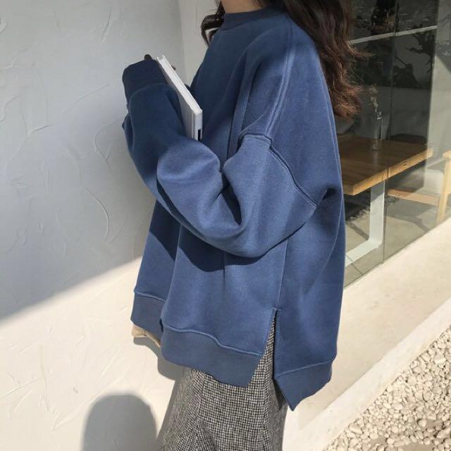 新品八折♡秋冬純色套頭開衩長袖保暖衛衣#我的女裝可超取