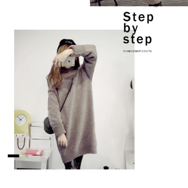 灰色長版針織毛衣
