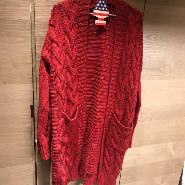 紅色針織毛衣長板外套