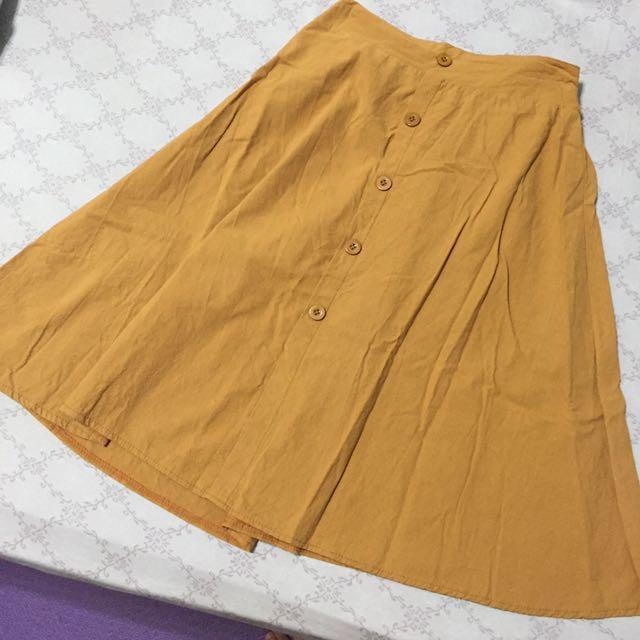 芥黃及膝吊帶裙 #我的女裝可超取