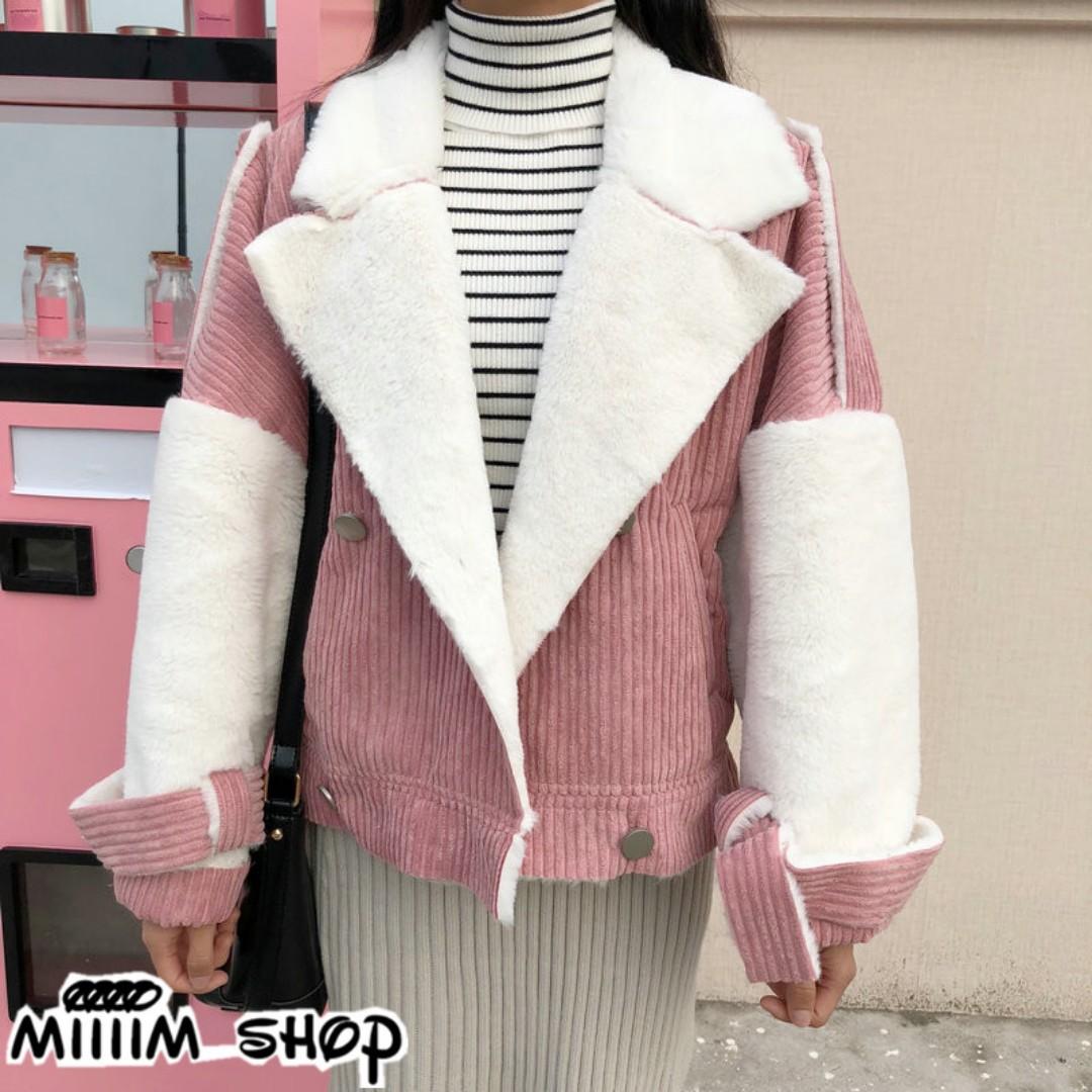 燈芯絨撞色毛絨外套 拼接韓版加厚短外套