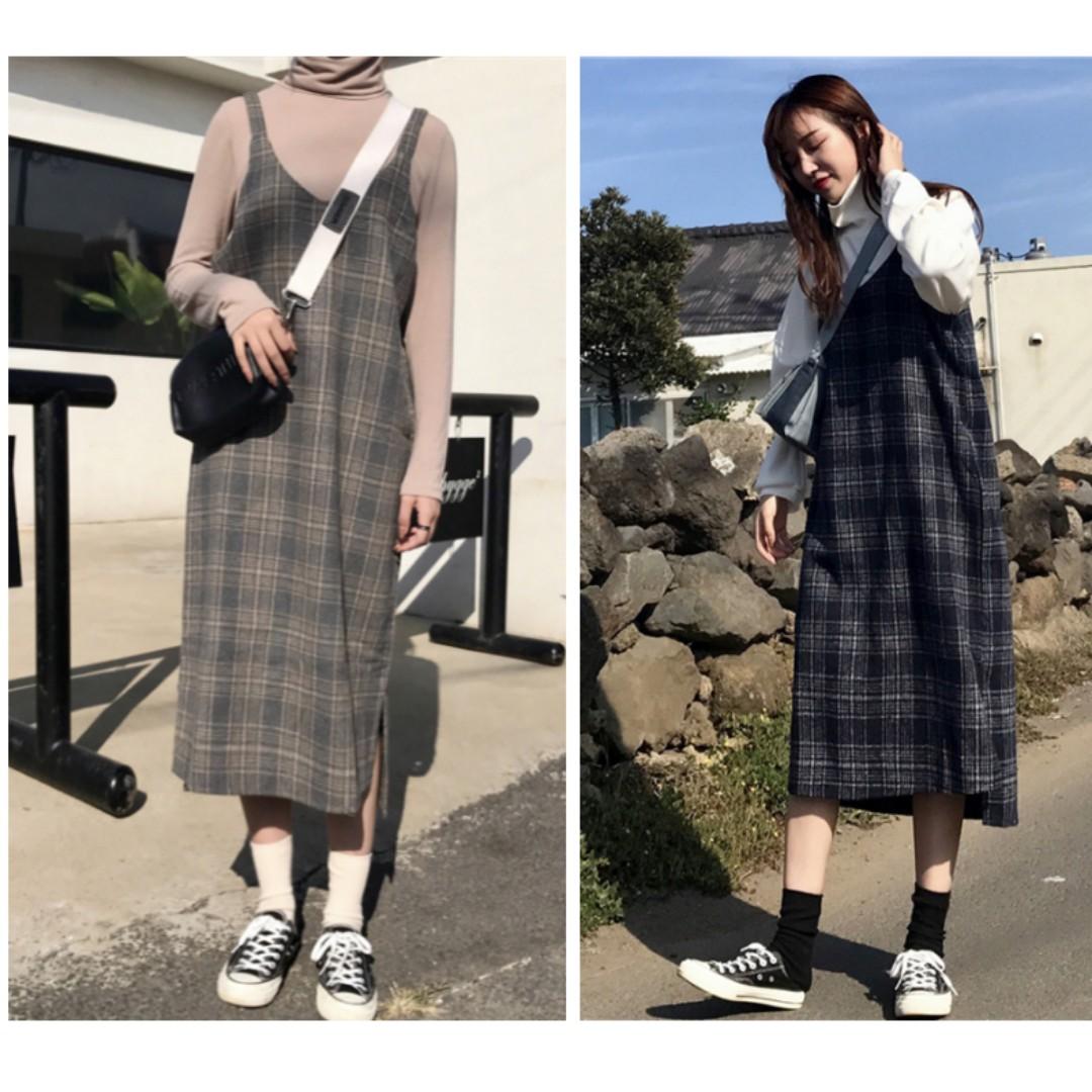 復古風吊帶裙開叉寬鬆中長款連身裙 格子裙