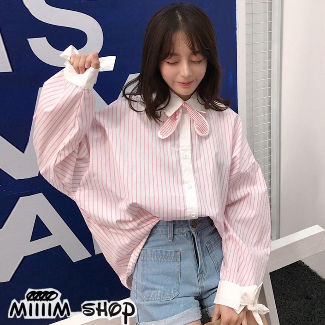 韓版蝴蝶結寬鬆粉條襯衫 軟妹子減齡單品