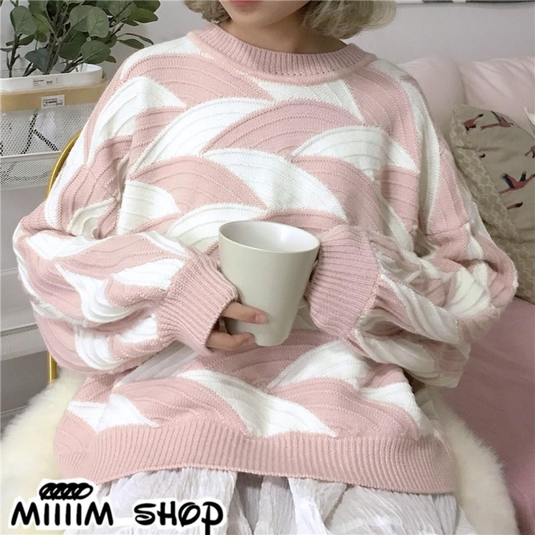 減齡清新撞色粉色寬鬆針織上衣 燈籠袖毛衣