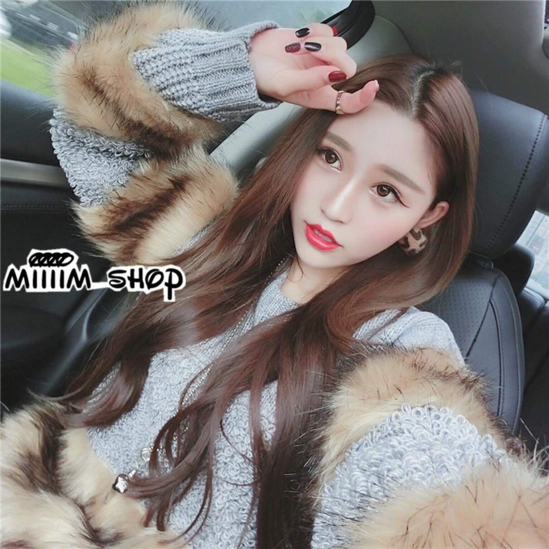 韓版氣質針織拼接毛毛寬鬆上衣 高磅數針織毛衣
