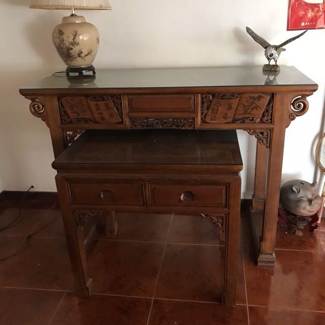 中式傢俱 雙層神桌 神壇 供桌 佛桌 雕刻精美 近全新
