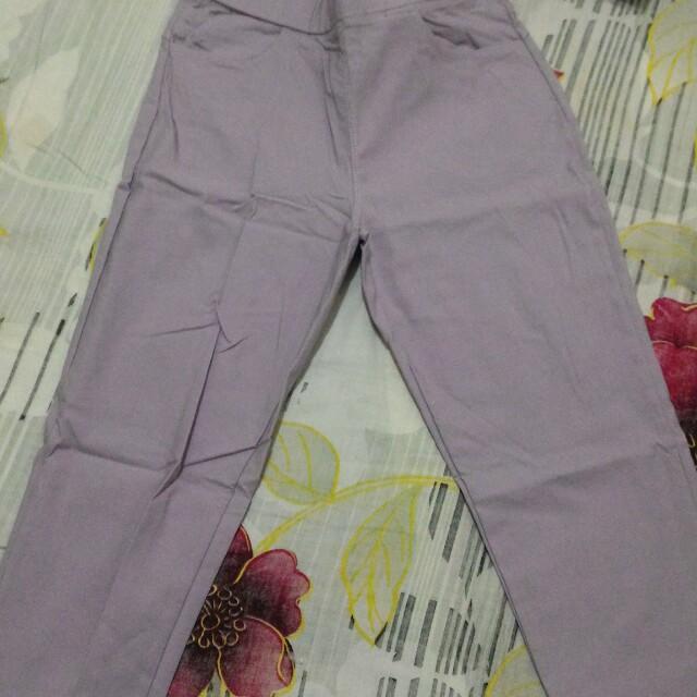 深紫 淺紫 青藍 白 色褲 m