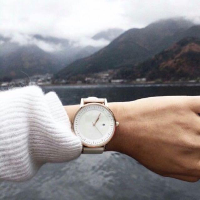 澳洲質感文青品牌 SWCO 白色玫瑰金皮革手錶