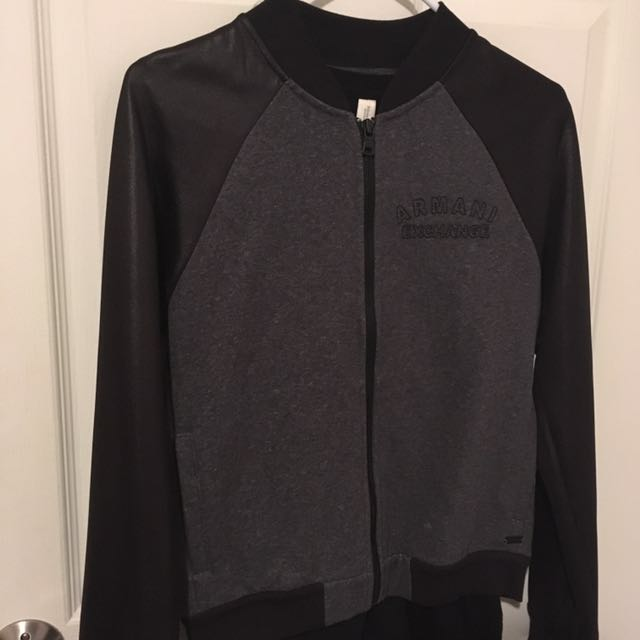 Armani exchange varsity jacket black and grey