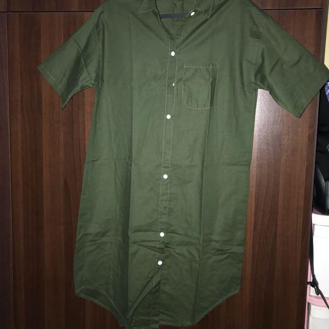 Army green boxy dress