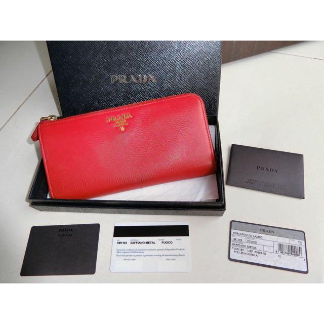 Authentic Prada Saffiano Fuoco Wallet