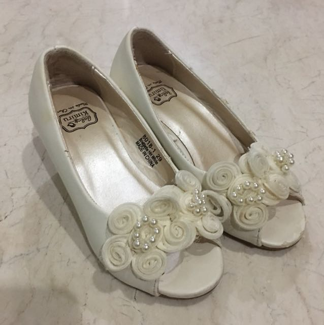 Baby Kimiru White Flower Party Shoes