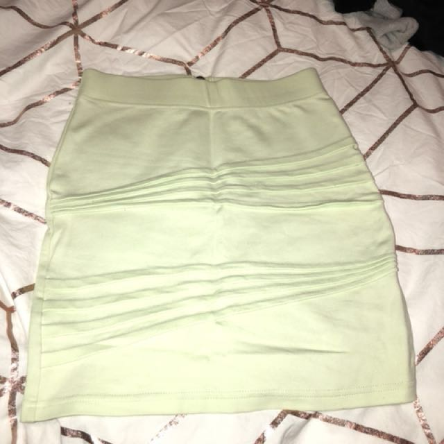Bardot Skirt - Lime Green