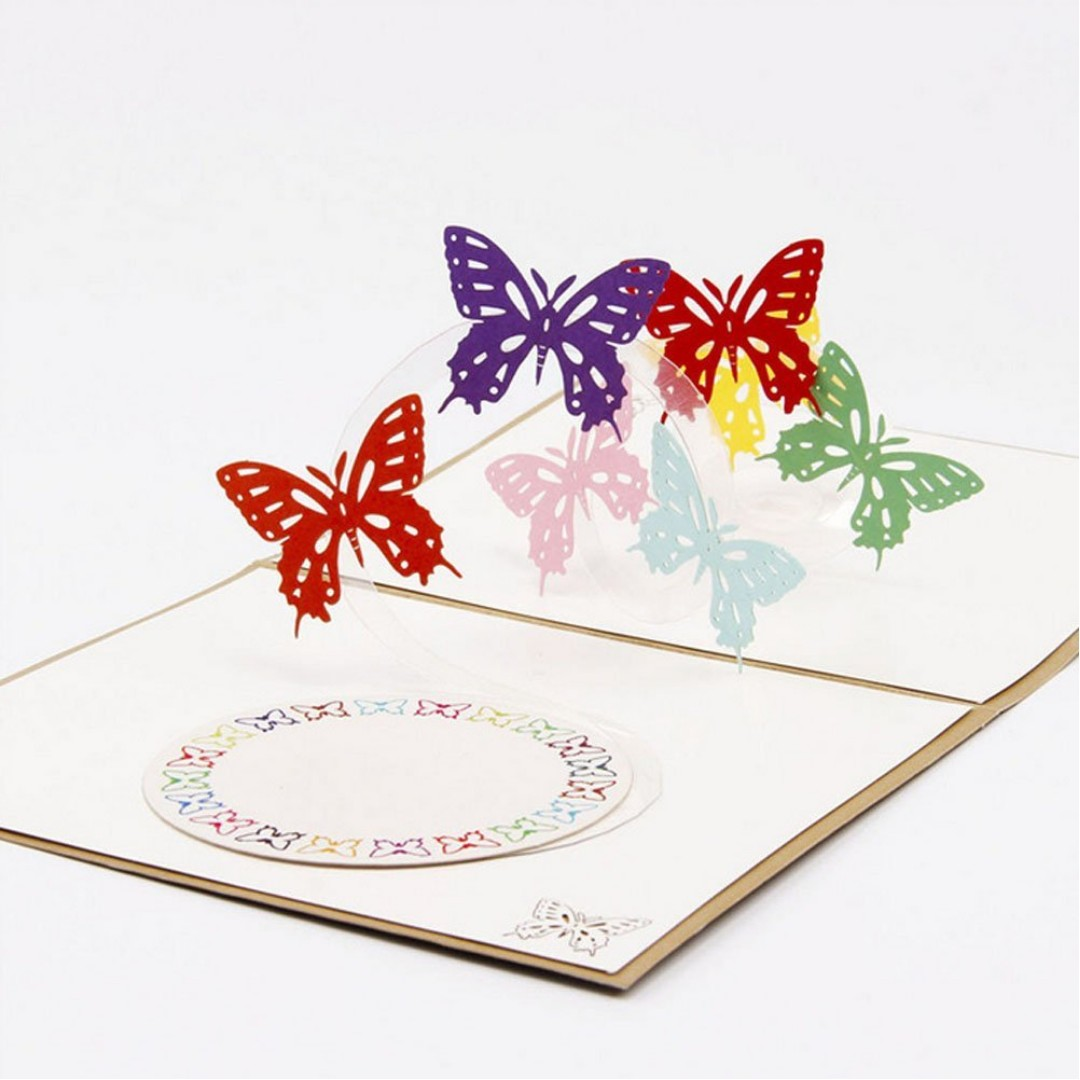 Beautiful Butterfly Handmade 3D Pop Up Christmas Cards Birthday Best Wish Mothers Day Creative Greeting Papercraft Design Craft