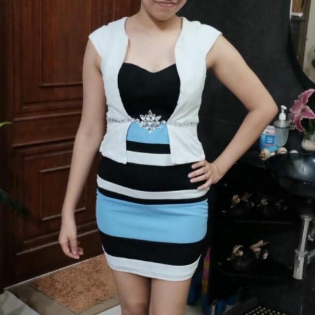 Black blue white stipe dress