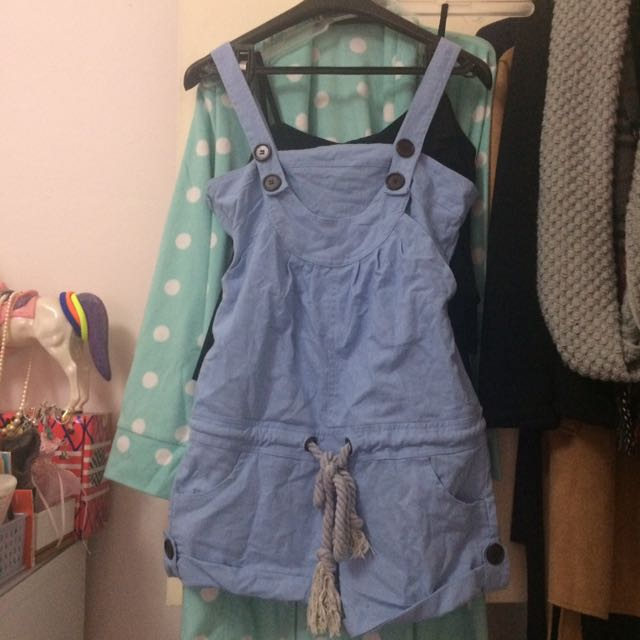 Blue button playsuit/ overalls