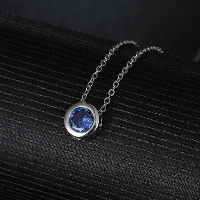 Blue Cubic Zircon Stone Round Pendant Necklace