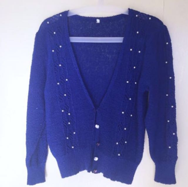 Blue knitted blazer