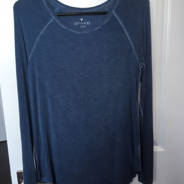 blue soft and sexy long sleeve