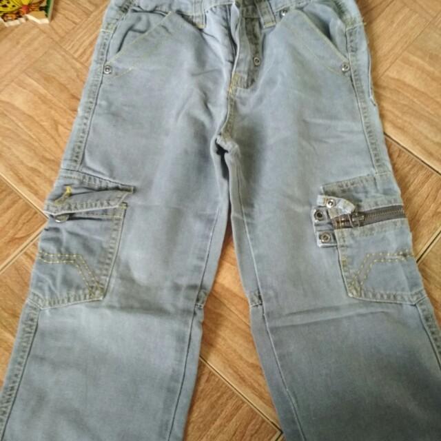 Celana bahan jeans warna abu abu