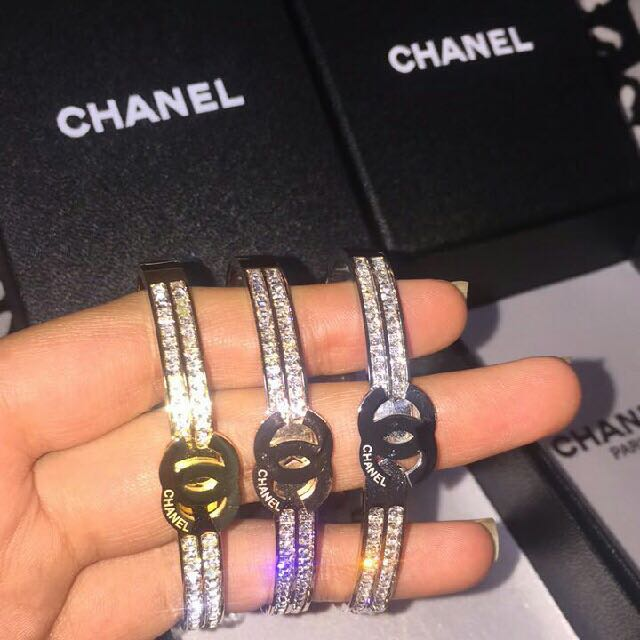 Chanel Diamond Bangle Bracelet With Swarovski Crystal