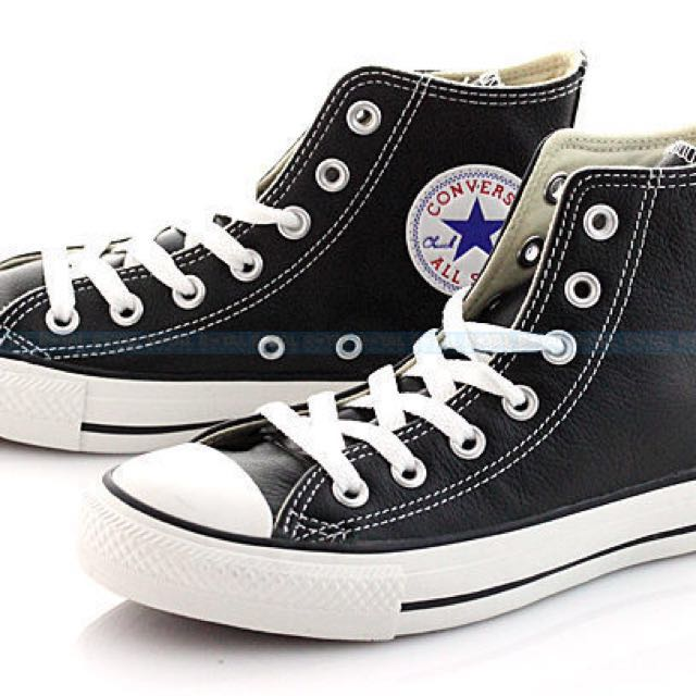 Converse all star 黑色荔枝皮高筒鞋