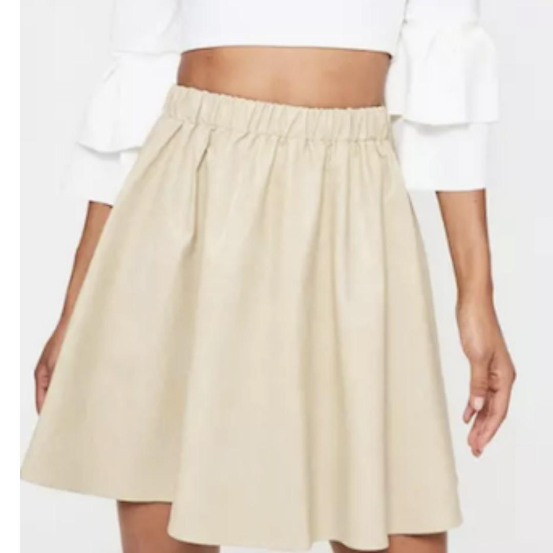 Cream Faux Leather Gathered Waist Mini Skirt
