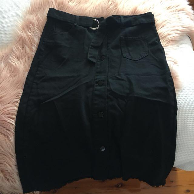 Denim Frayed Black Skirt