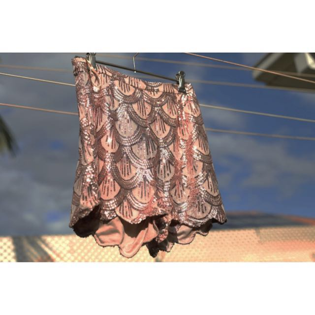 DONATED - NO LONGER FOR SALE Rose gold sequin shorts