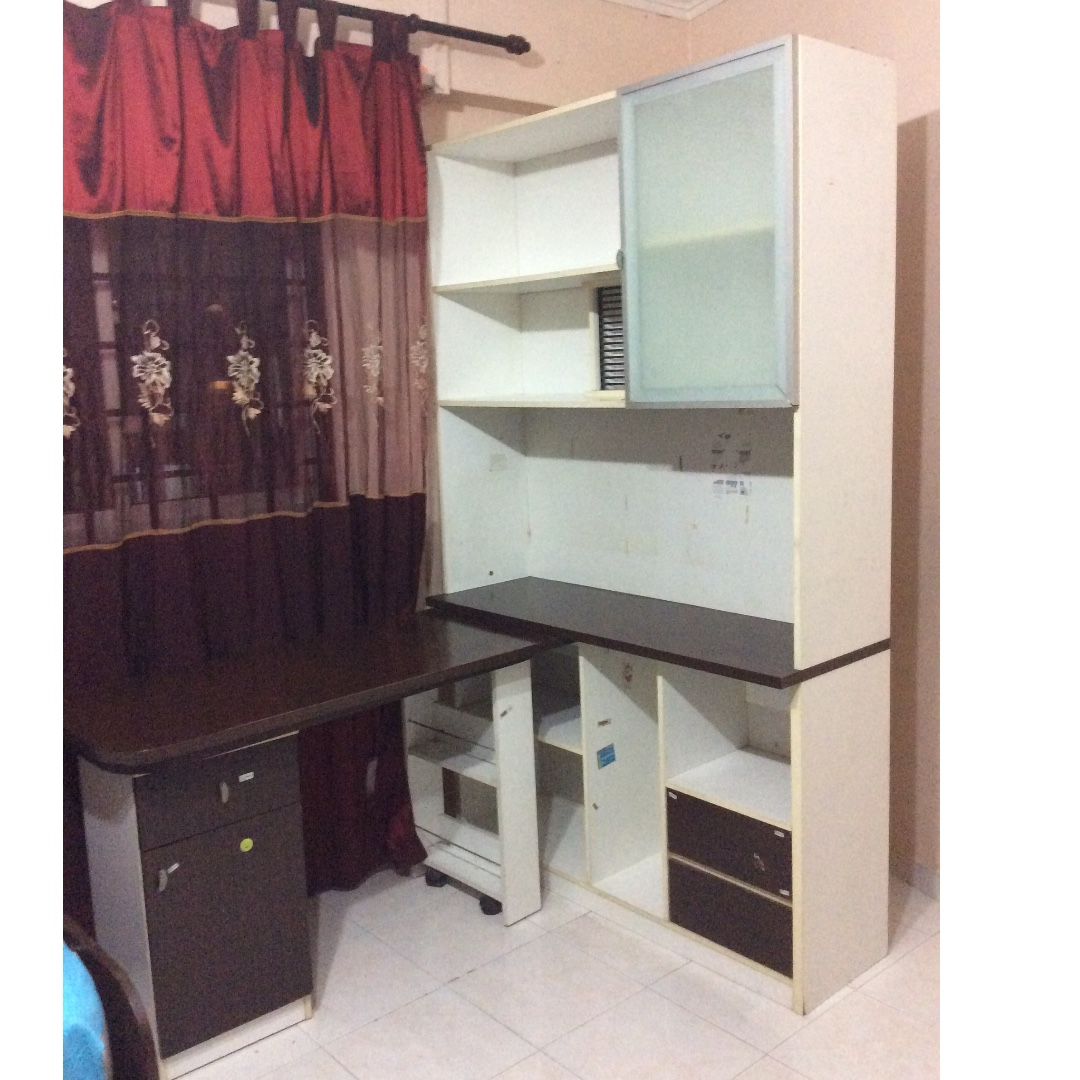 Double Super Single Bed U0026 Study Table, Furniture, Beds U0026 Mattresses On  Carousell