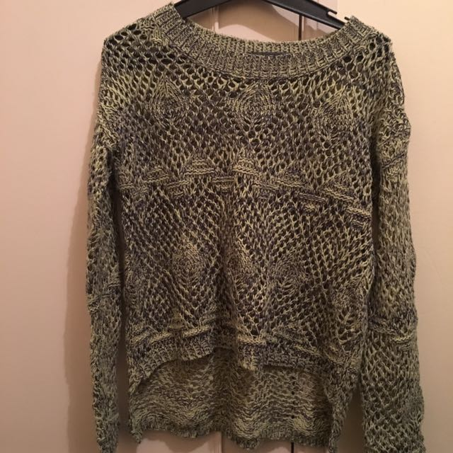 Green/Navy Crochet Jumper