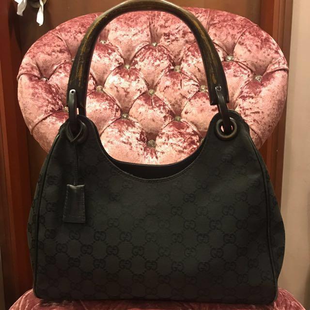 d91ee49e769650 Gucci Monogram GG Canvas Wood Handle Hobo Bag, Luxury, Bags ...