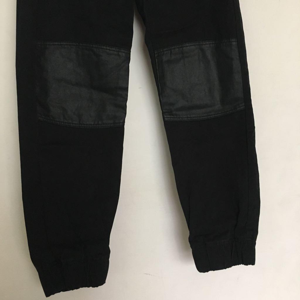 H&M kids 黑色造型縮口棉褲