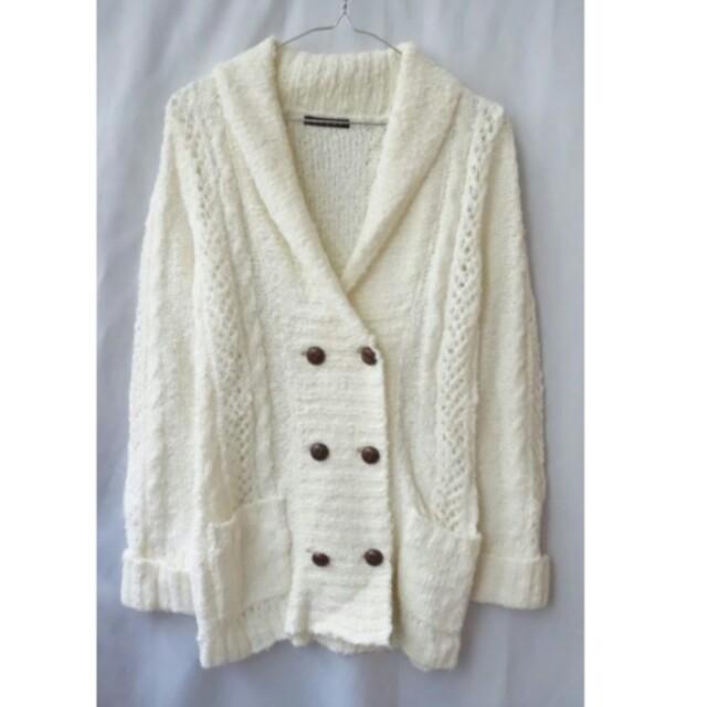 【INGNI】近新 Lean御用 翻領雙排釦手工編織長版羊毛外套(白)賠售出清