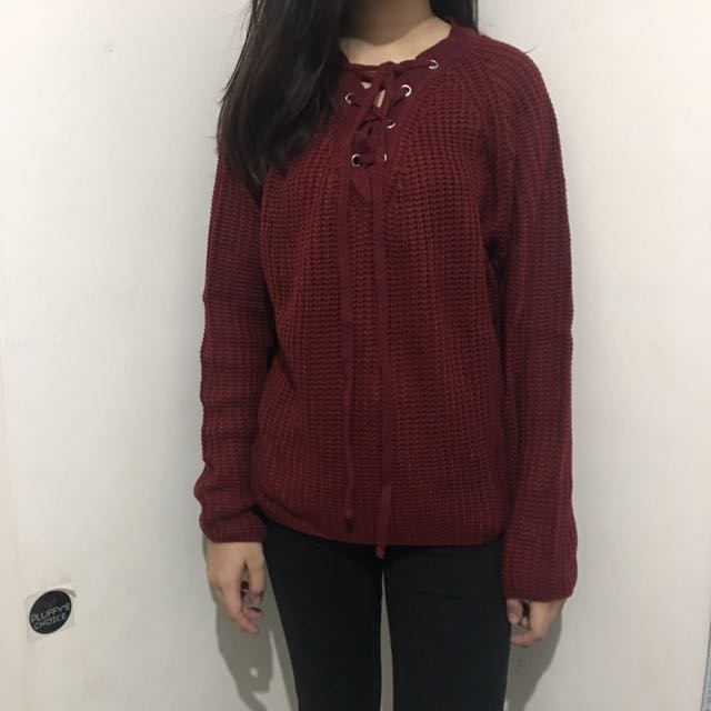 knit sweater maroon